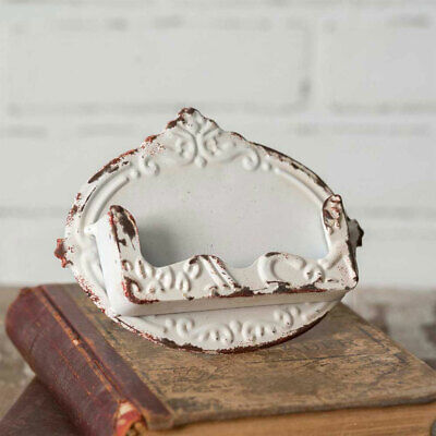 Vintage Shabby White Distressed Metal Desk Business Card Pocket Holder New