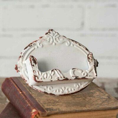 Vintage Shabby White Distressed Metal Desk Business Card Pocket Holder New