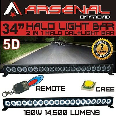 """34"""" 5D HALO LED Light Bar by Arsenal Offroad HALO DRL / Super Spot-CREE 10W LED'"""