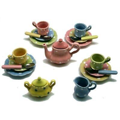 Kid's Polka Dot Play Tea Set - Porcelain