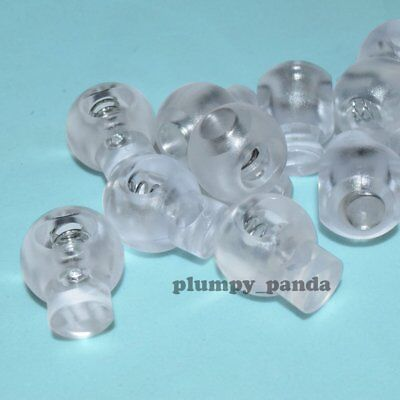 """Clear Ball ( Hole = 5/16"""") Round Cordlock Cord Locks Toggles Barrels Stopper End"""