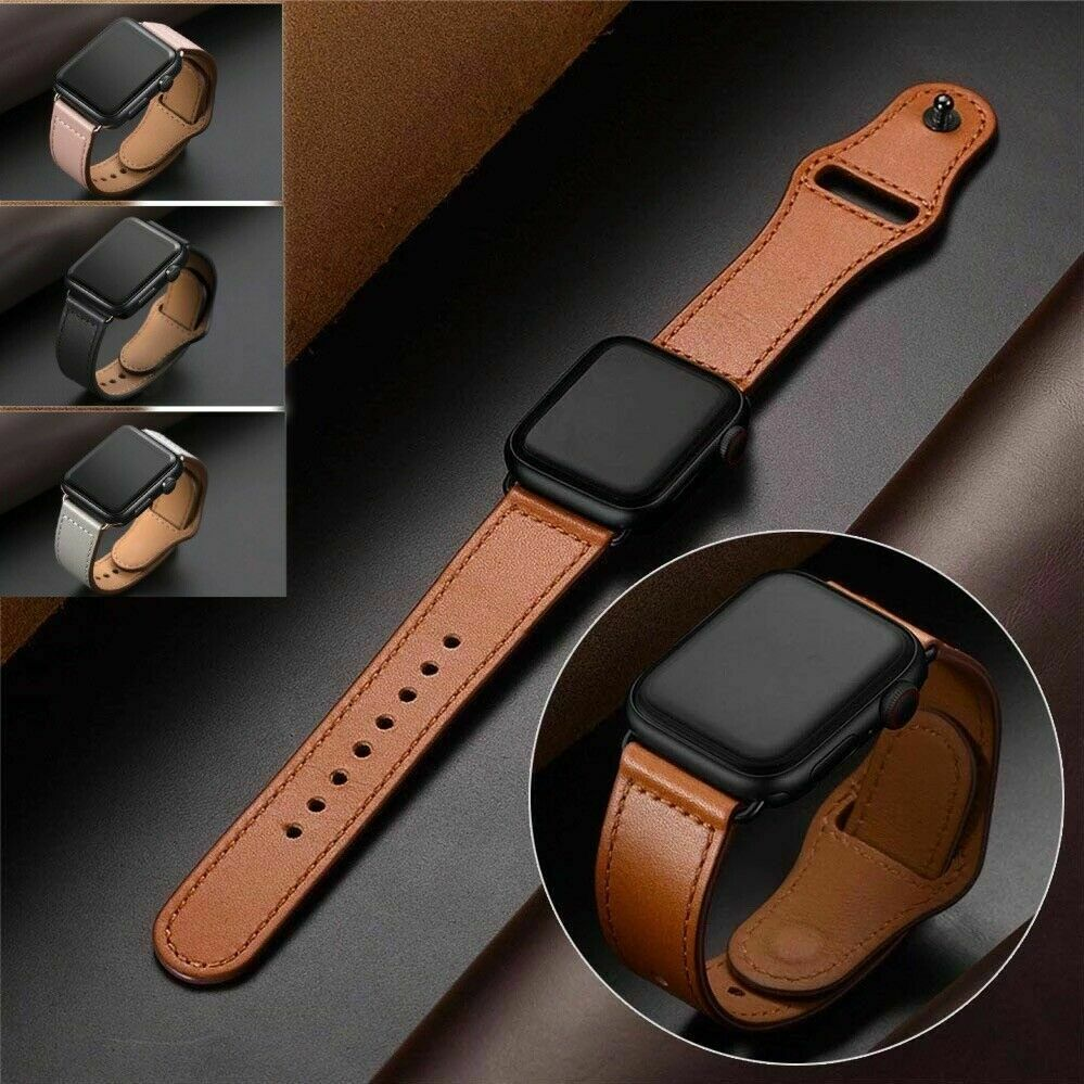 Genuine Leather Apple Watch Band For iWatch Series 6 5 4 3 2 38mm/40mm 42mm/44mm Jewelry & Watches