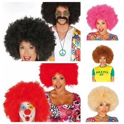 Große Afro-Perücke für Damen und Herren Locken Hippie Clown Harlekin Minipli