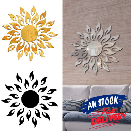 Home Decoration - 3D Acrylic Mirror Sun Mural Wall Sticker Art Home Decor Removable Decal
