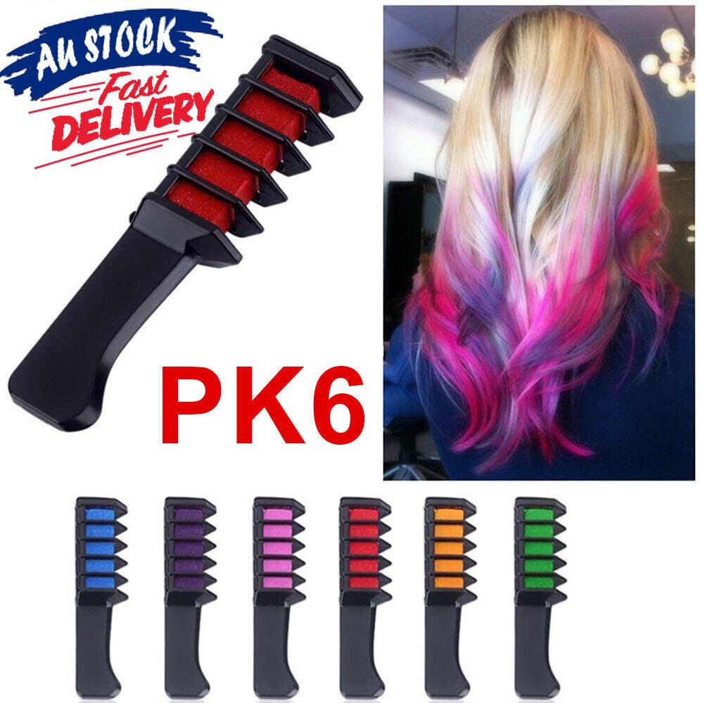 Details About 6pcs Soft Dye Comb Set Temporary Pastels Salon Gift Party Diy Hair Colour Chalk