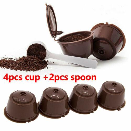 4x Nachfüllbare wiederverwendbare Kaffee Kapseln Pods für Dolce Gusto Brewer Neu