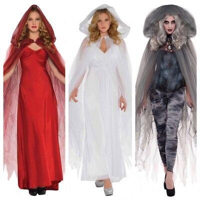Tüll Umhang mit Kapuze Zubehör Halloween Kostüm Hexe Geist Zombie Engel - Cape Kostüm Zubehör