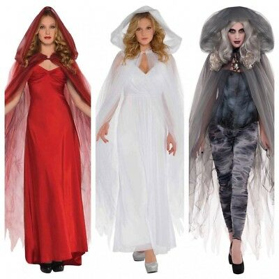 Tüll Umhang mit Kapuze Zubehör Halloween Kostüm Hexe Geist Zombie Engel Cape