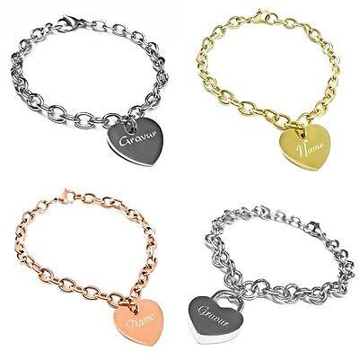 Damen Armband / Herz Armband mit Gravur aus Edelstahl verschiedene Modelle (Herz Mit Band)