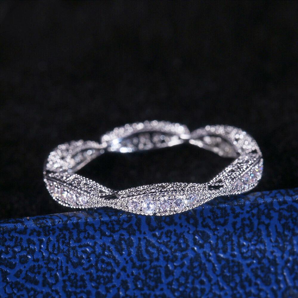 Jewellery - Fashion Women 925 Silver Rings Round Cut White Sapphire Wedding Ring Size 6-10