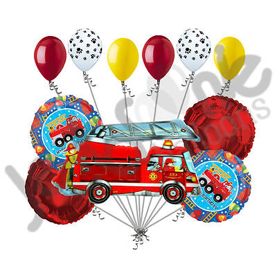 Fire Engine Party (11 pc Fire Engine Fun Balloon Bouquet Decoration Happy Birthday Party)