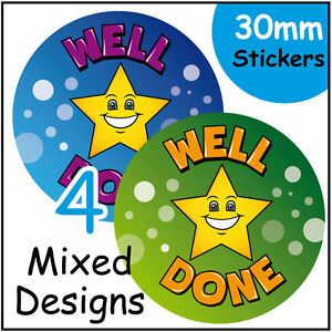Reward Stickers, 144 x 'Well Done' School Teachers stickers for kids / children