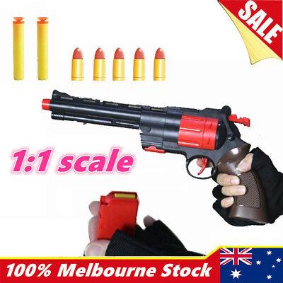 Revolver Plastic Police Pistol Toy Gun Weapon Kids Boys Army Nerf Bullets Cowboy