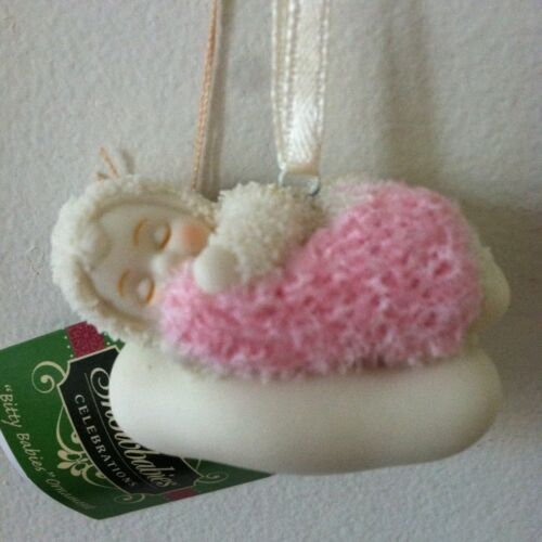Dept 56 Snowbabies Blank Bitty Baby Girl Ornament Pink New Baby Shower Favors