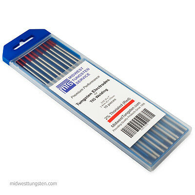 Tig Welding Tungsten Rod Electrodes 2thoriated 332 X 7 Red Wt20 10pk