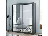 Designer Furniture -Dakota 2 Sliding Mirrored Doors Wardrobe In 160cm Size In White & Grey Colors