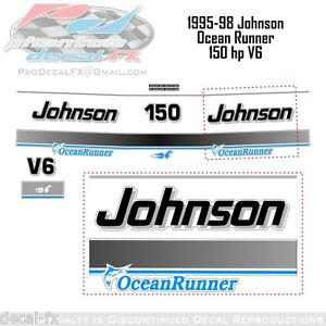150 HP Johnson Ocean Runner http://www.ebay.ca/itm/1995-1998-Johnson-150-HP-V6-Ocean-Runner-Reproduction-11-Piece-Vinyl-Decals-/150829202923