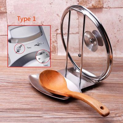 - Stainless Steel Pot Lid Cover Spoon Rest Stand Rack Holder Shelf Organizer New