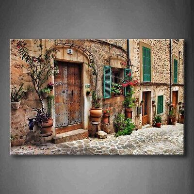 Framed Street Of Mediterranean Town Canvas Print Wall Art Painting City -