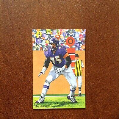 Jonathan Ogden Baltimore Ravens unsigned Goal Line Art Card in Toploader Baltimore Ravens Goal Line