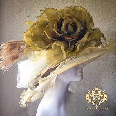 Rosa Kentucky Derby Sombrero Crema Marfil Musgo Hues Royal Ascot Del Mar