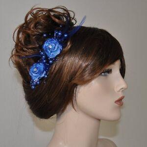 2 Stück Haarclip BLAU GLITZER Ansteckblume Perlen Federn Strassstein Blumen NEU