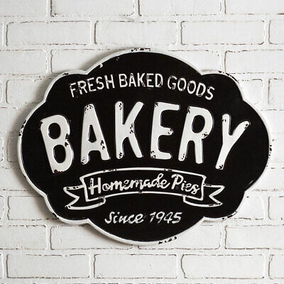 Vintage BAKERY METAL WALL SIGN Retro Style Kitchen Cake Pies Cookies