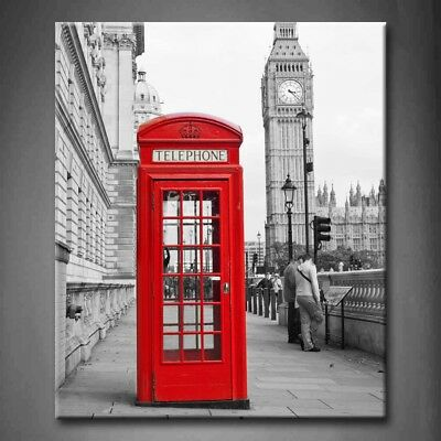 Framed Black White And Red London City Canvas Print Wall Art Painting
