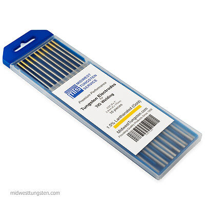 Tig Welding Tungsten Rod Electrodes 1.5 Lanthanated 332 X 7 Gold Wl15 10pk