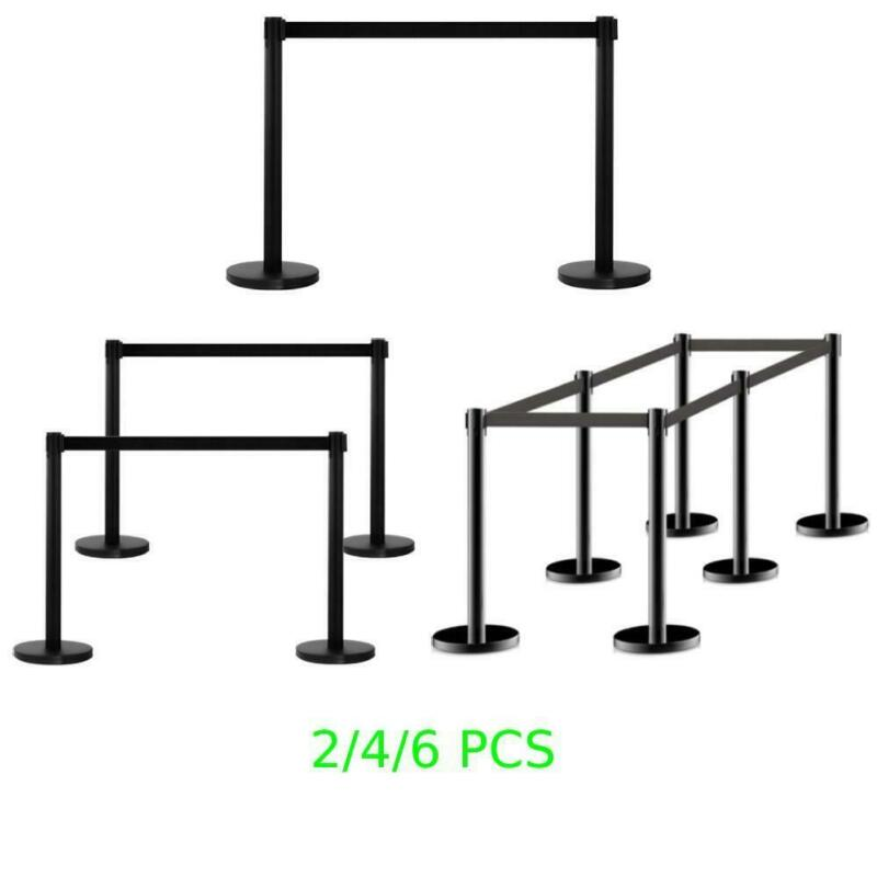 Black 2/4/6 Pack Crowd Control Barrier Stanchion Posts Durable Queue Outdoor NEW