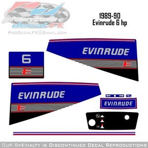 1989-90-Evinrude-6-HP-Outboard-Reproduction-Vinyl-Decals-Six-Horse-Power