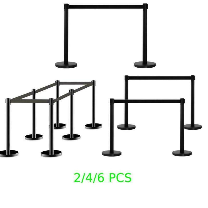 Hot 2/4/6 PCS Stanchion Posts Queue Pole Black Belt Crowd Control Barrier Ropes