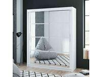 Brand New Furniture -Dakota 2 Sliding Mirrored Doors Wardrobe In 160cm Size In White & Grey Colors