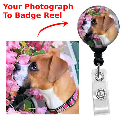 Custom Retractable Your Pets Picture Cat Dog Badge Reel ID Name Card Holder](Custom Photo Cards)
