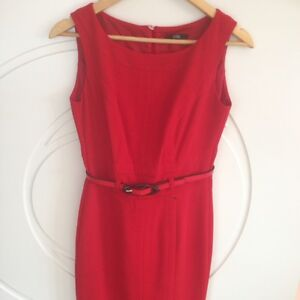 NEW M&S PER UNA PENCIL DRESS WORKWEAR RED BLACK COLOUR SIZE 12 £55