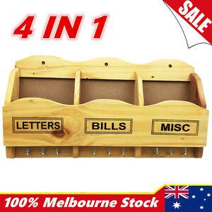 4in1 Wooden Timber Wall Keys Bills Mail Letter Holder Rack Hanger Organiser Hook