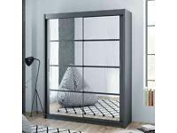 Sale On Furniture-Dakota 2 Sliding Mirrored Doors Wardrobe In 160cm Size In White & Grey Colors
