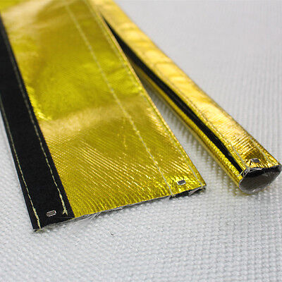 """Gold reflective Heat Shield Sleeve Wire Hose Cover Wrap Loom Tube 1/2"""" 3 Ft NEW"""