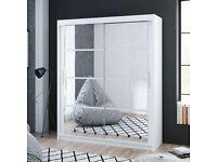 Sale On Furniture -Dakota 2 Sliding Mirrored Doors Wardrobe In 160cm Size In White & Grey Colors