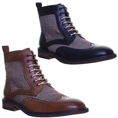 Justin Reece Jasper Mens Leather Tweed Brogue Ankle Boots UK Sizes 6 - 12