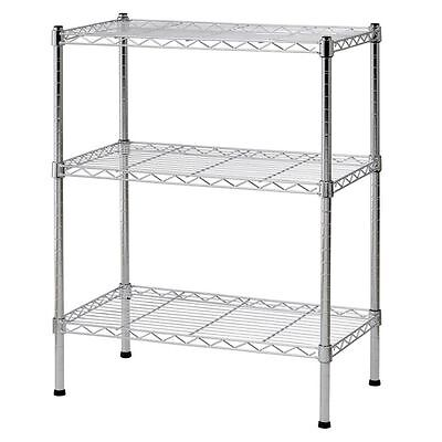3 Tier Wire Shelving Rack Unit Storage Adjustable Metal Shelf Garage Organizer