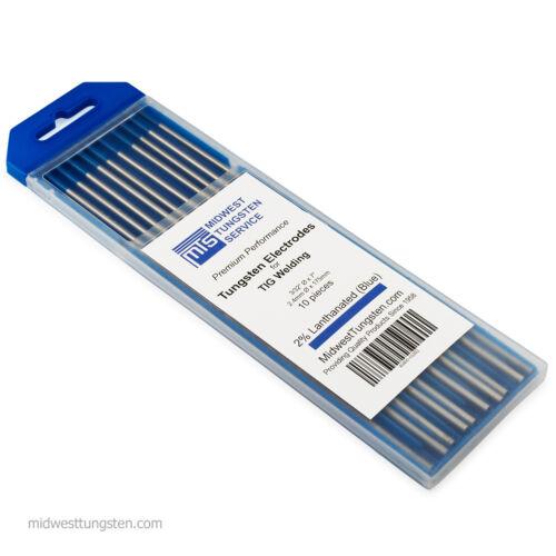 "TIG Welding Tungsten Rod Electrodes 2% Lanthanated 3/32"" x 7"" (Blue, WL20) 10PK"