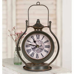 Retro Style Tabletop Metal & Glass Clock With Handle 10.5 High Distressed