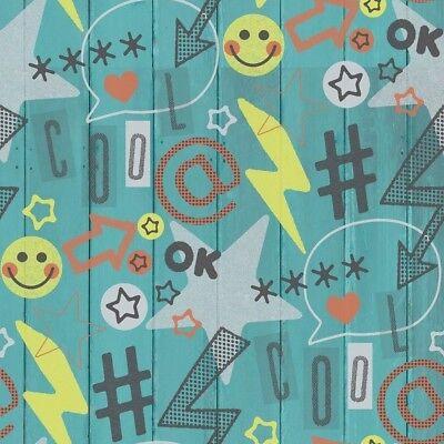 finedecor Carta da parati per bambini - Social Networks - legno TOPPE Emoji