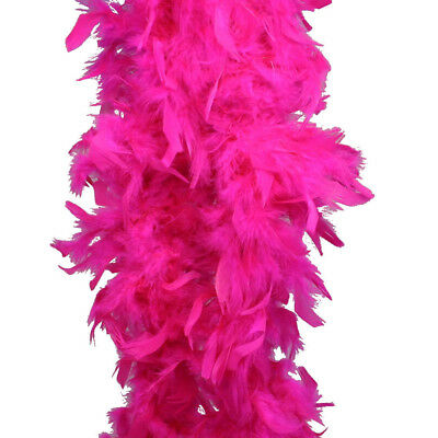 FEATHER BOA THICK LUXURY HIGH QUALITY HOT PINK GIRL PARTY 85G GATSBY FLAPPER UK  - Hot Pink Boa