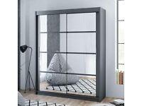 Best Furniture -Dakota 2 Sliding Mirrored Doors Wardrobe In 160cm Size In White & Grey Colors