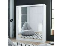 Brand New Furniture-Dakota 2 Sliding Mirrored Doors Wardrobe In 160cm Size In White & Grey Colors