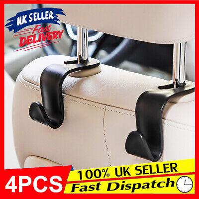 4pcs Storage Groceries Plastic Car Back Seat Bag Handbag Hooks Headrest Hanger