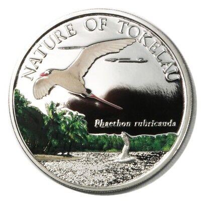 Tailed Tropic Bird - Tokelau Red-tailed Tropic Bird Phaethon Rubricauda $1 2012 Proof Colored Crown