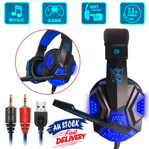 game computer - Gaming Headset AU Computer Game Headphones With Microphone Deep Bass Stereo